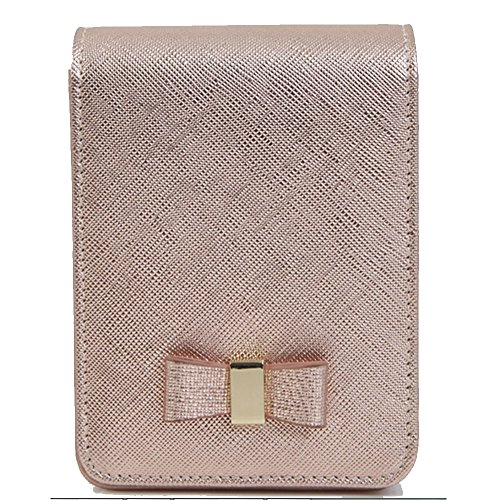 Women's Soft Genuine Leather Cigarette Case Dispenser Tobacco Holder Saver Pocket Box with Metal Beauty Mirror (Rose Gold)