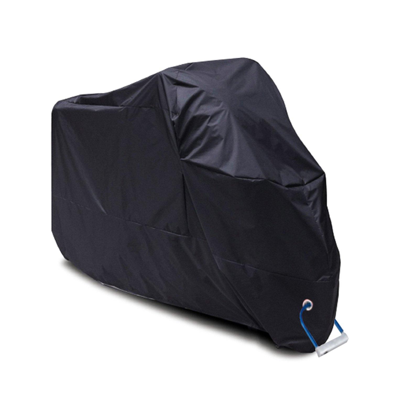 Copertura per moto, YOOFAN copertura impermeabile della moto in poliestere 190T, copertura anti polvere e anti ruggine del motociclo e riparo dalla pioggia all' interno o all'aperto con il sacchetto con serrature (XXL / nero)