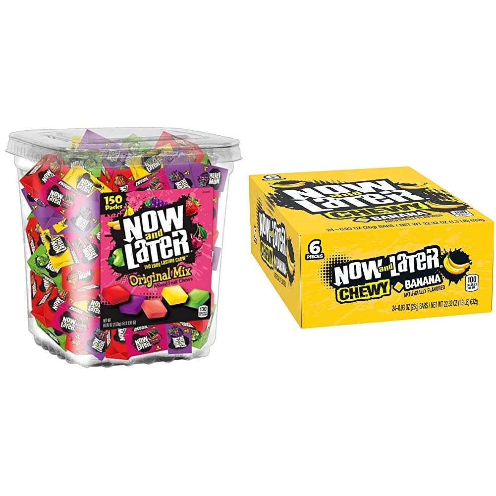 Now & Later Original Taffy Chews Candy, Assorted, 150Count Chews, 90 Oz Jar & Soft Taffy Chewy Banana Fruit Chews, Pack of 24
