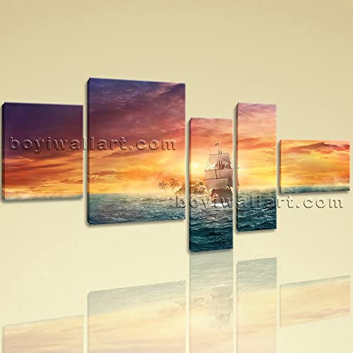 Amazon.com: Extra Large Seascape Picture Boat Hd Print Abstract ...