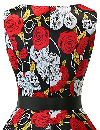 Bridesmay Mujer En Sin Vestido Black Corto Skull Escote Vintage Pico Mangas Retro 4rqr1E