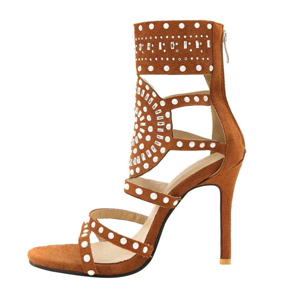 Orangeskycn Women High Heel Sandals Plus Size Fashion Rivet Back Zipper High Heel Open Toe Ankle Beach Shoes Sandals Brown