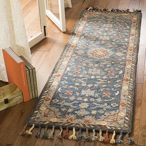 (Safavieh Aspen Collection APN123A Blue and Rust Premium Wool Runner (2'3' x 7'))