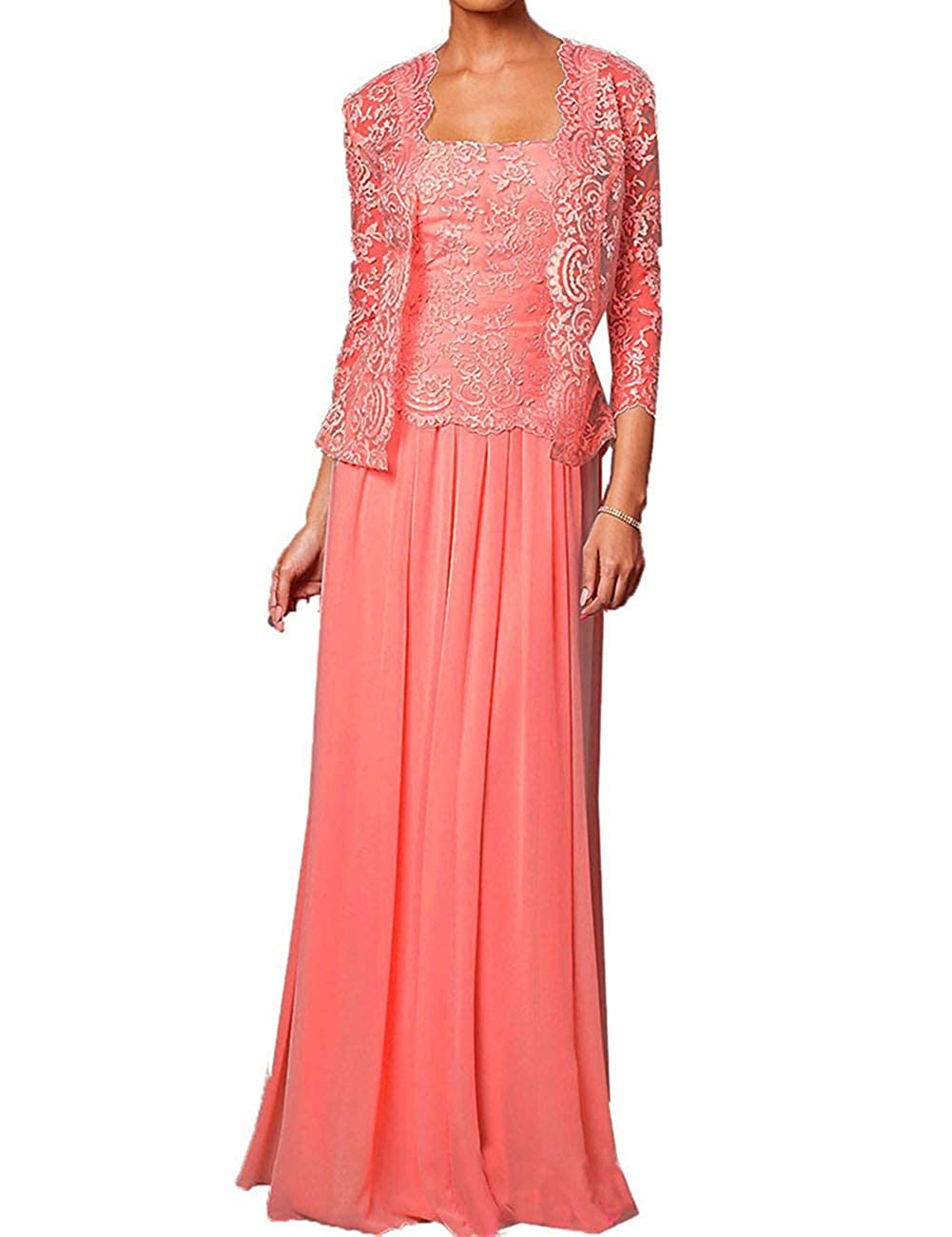 Mother of The Bride Dress with Lace Jacket 2 Pieces Long Evening Party Dresses