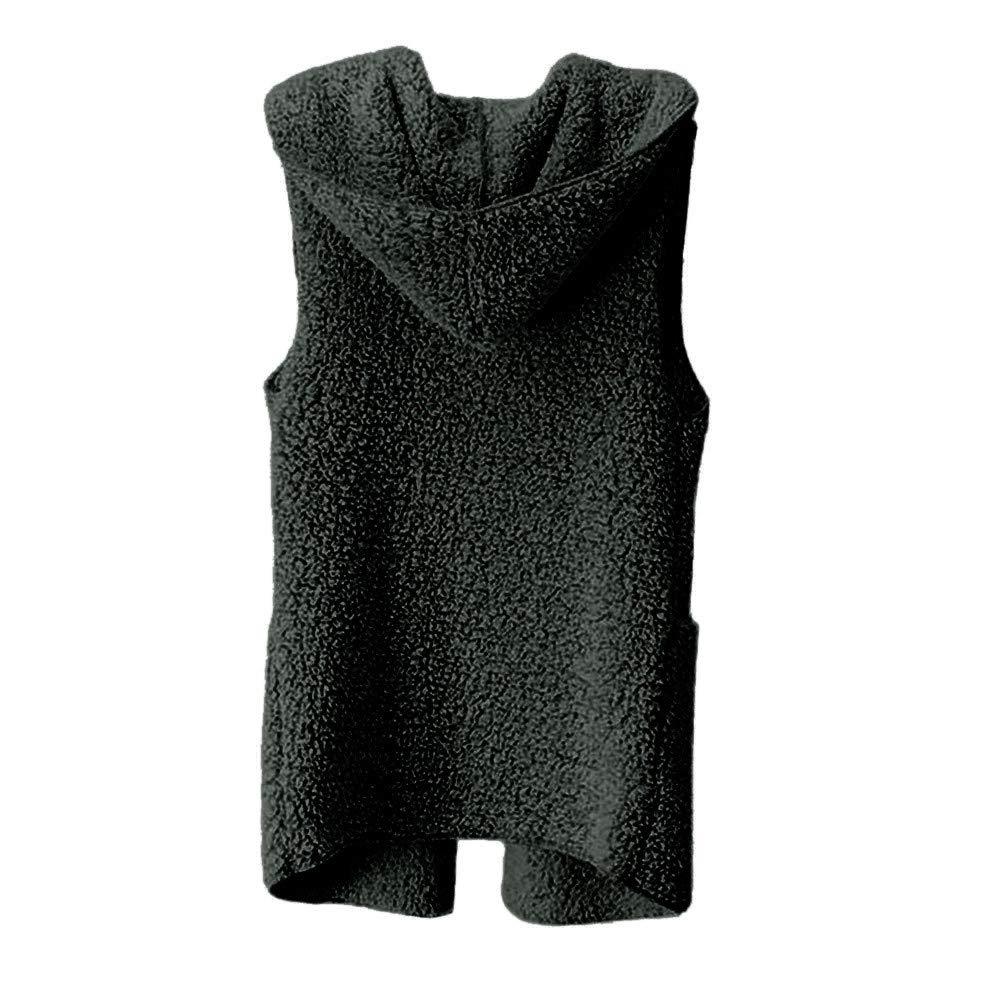 FeiBeauty Damen-Normallack-Herbst-Winter-Plü sch-Wolljacken-mit Kapuze Wolle-warmes ä rmelloses Hoodie-Strickjacke-Windbreaker-Jacke