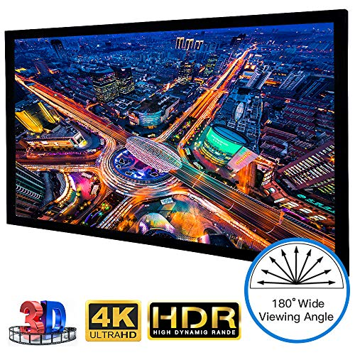 Large Fixed Frame Projector Screen HDTV Format 120 Inch 16:9, Wrinkle-Free Home Theater Cinema Movie Projection Screen ()