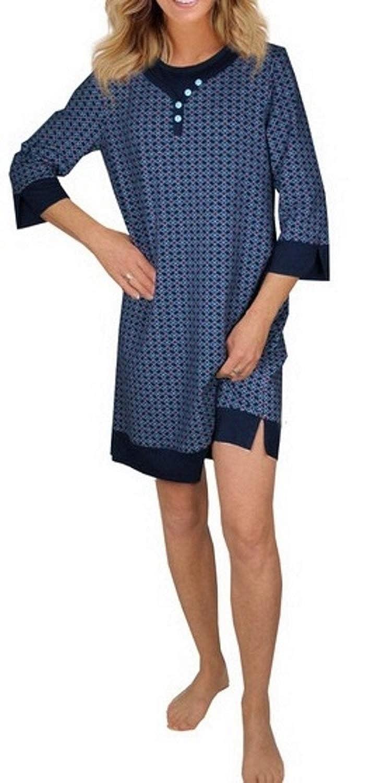 Consult-Tex Damen Langarm Nachthemd Baumwolle Knopfleiste DW158 blau