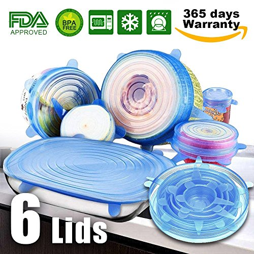 6 Pack Silicone Stretch Lids, Reusable Silicon Lids overs Food Saver Covers, Various Sizes for Keeping Food Fresh, Bowl, Plate, Dishes, Jars, Cups, Oven, Microwave and ()