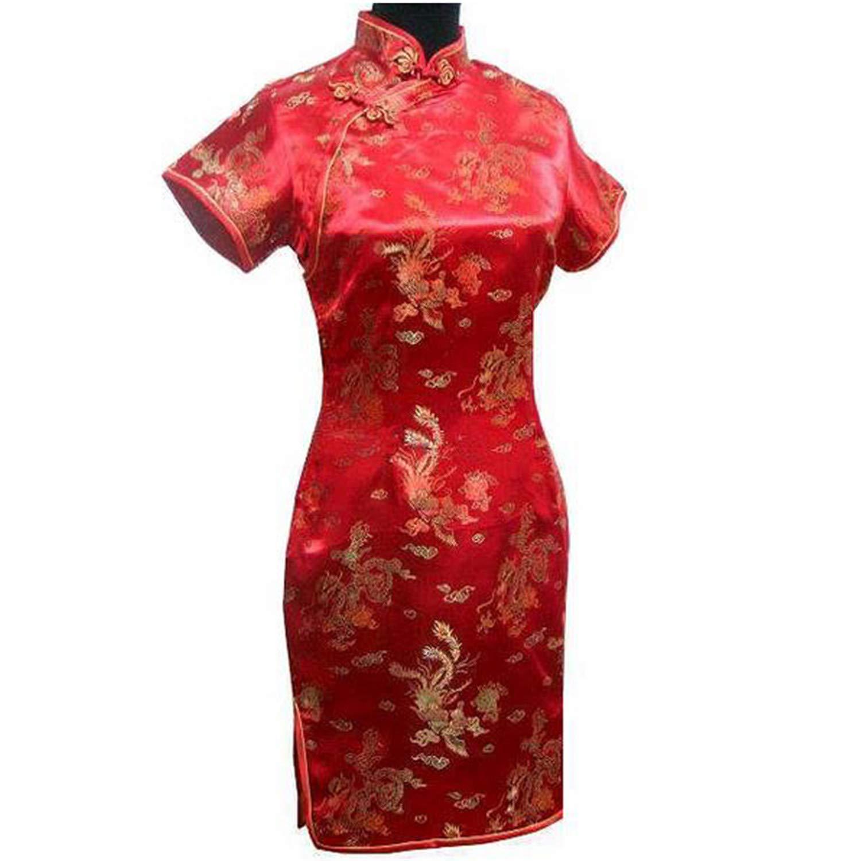 Pragmaticv Abito da Donna in Raso di Seta Tradizionale Cinese Femminile Stile Cheongsam