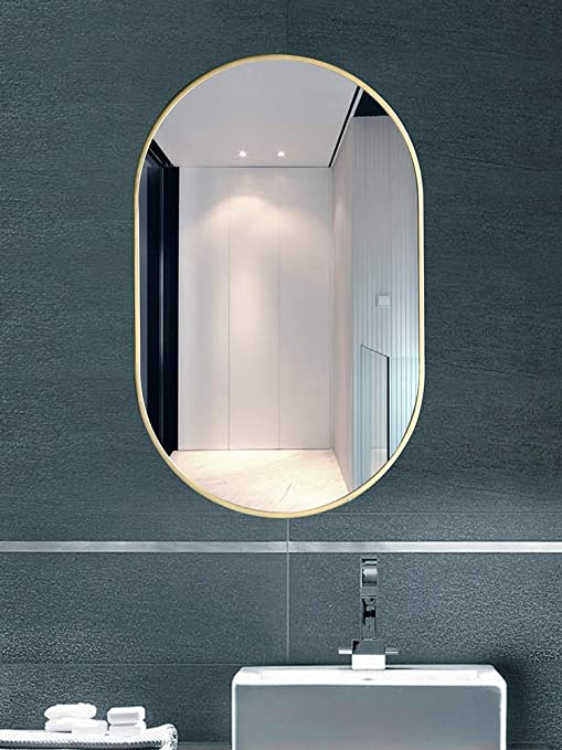 Amazon Com Tmgy Modern Vanity Mirror For Living Room Bathroom Bedroom Gold Oval Mirror Wall Mounted 27 5 X19 6 Large Gold Mirrors For Wall Decor Ornate Mirror Big Metal Frame Wall Mirror Antique Mirror Home Kitchen