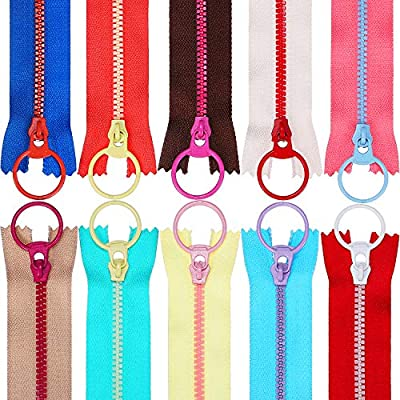 24inch WKXFJJWZC 10pcs Mix Color (60cm) 24 Openings 5# Resin Zipper Pull Ring Zipper Head DIY Sewing Handbags Clothing Accessories