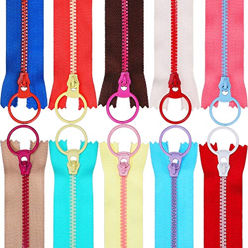 TecUnite 20 Pieces Plastic Resin Zippers with Lifting Ring Quoit Colorful Zipper for Tailor Sewing Crafts Bag Garment (12 Inch) ()