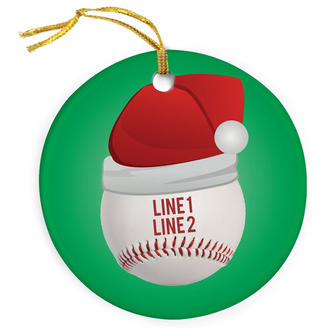 ChalkTalkSPORTS Personalized Baseball Porcelain Ornament | Santa Hat Christmas Ornament
