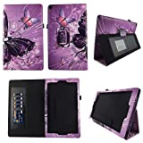 Multi Butterfly Folio Case for Fire HD 10 Slim Fit Leather Standing Protective Cover w Auto Wake / Sleep for Amazon Fire HD 10 Tablet 10.1'' HD Stylus Holder ID Slots