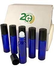 Aromatherapy Glass Roll On Bottles, 10ml (1/3oz) Cobalt Blue Glass - Set of 6