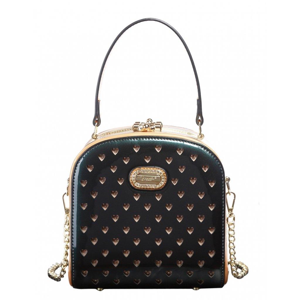 Dark Green Verona H & L New Women's Shinny Twinkle Star Cute Boxy Clutch