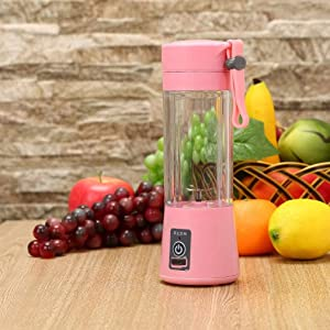Portable Rechargeable Juice Blender 380ml Volume Healthy USB Electric Safety Juicer Cup Rechargeable/Juicing Mixing Crush Ice Traveling Multi-function Blender (Pink)