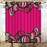 Black and Hot Pink Shower Curtains AmaPark Water Repellent Fabric Shower Curtain or Liner Borders Framework Curled B Stripes Hot Pink Green Black Washable Bathroom 48 x 72 inches