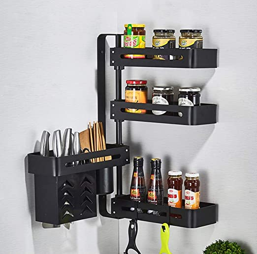 Iron Kitchen Bathroom Organizer Storage Shelf Cupboard Hanging Hook She RAS