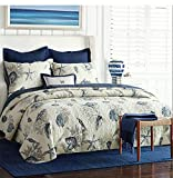 Nautical Queen Quilt Set 1 Reversible Bedspread and 2 Pillowcases,100% Cotton Comfy Navy Blue Coverlet Set,Lightweight and Hypoallergenic