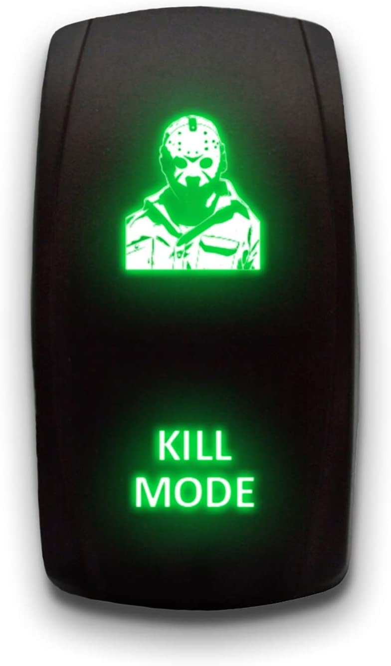 KILL MODE GREEN Laser Etched LED Rocker Switch 5PIN Dual Light 20A 12V ON OFF
