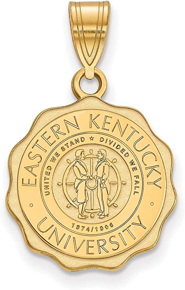 Lex /& Lu LogoArt Sterling Silver w//GP Eastern Kentucky University Medium Crest Pendant