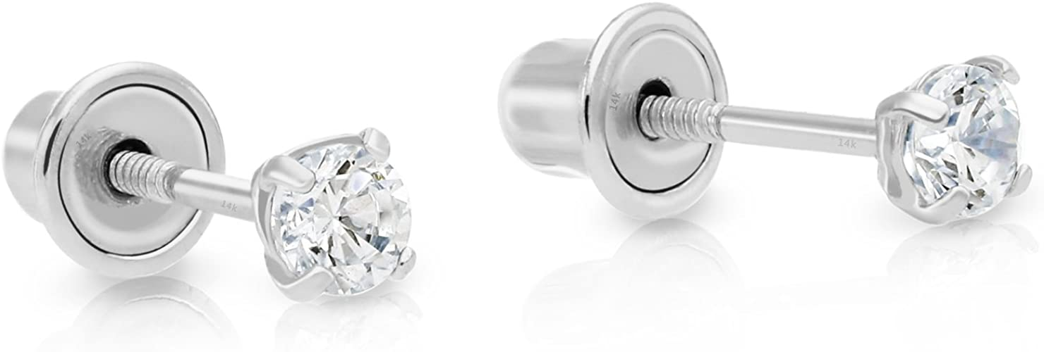 14k White Gold Ball Stud Earrings with Secure and Comfortable Screw Backs