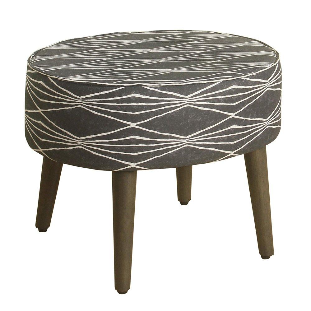 HomePop Mid Mod Oval Ottoman/Stool with Wood Legs, Dark Grey and Cream Triangle