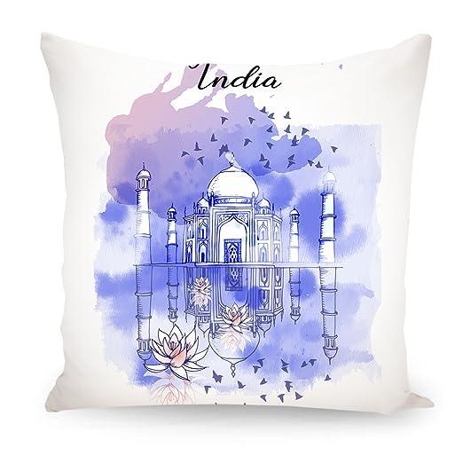 artboxONE cojín India diseño cojín, poliéster, Blanco, 30 x ...