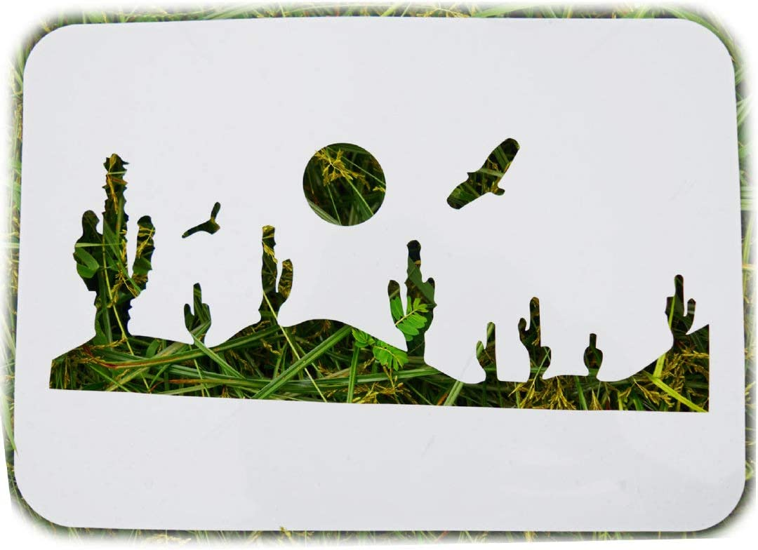SOOQOO Cactus Plant Stencils for Painting – Templates Painting on Wall, Wool,Canvas,Paper,Fabric and Tile – DIY Art and Craft Tools – Great for Home ,School and Gift Giving - Reusable (11.7