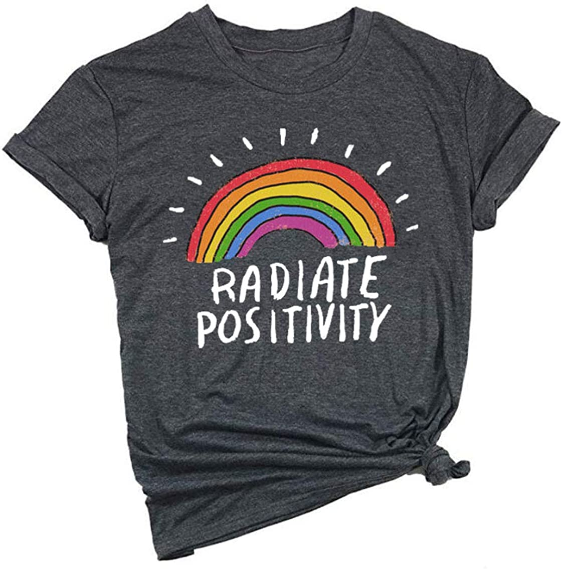 Women Radiate Positivity Rainbow T-Shirt Funny Letter Printe Rainbow Graphic Tee Summer Short Sleeve Shirts Tops