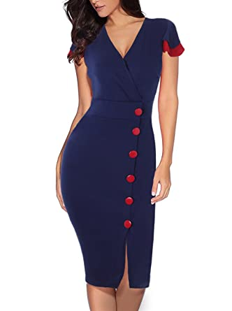 3ab8d92841 Babyonlinedress Womens V Neck Wear to Work Office Career Bodycon Pencil  Dresses at Amazon Women s Clothing store