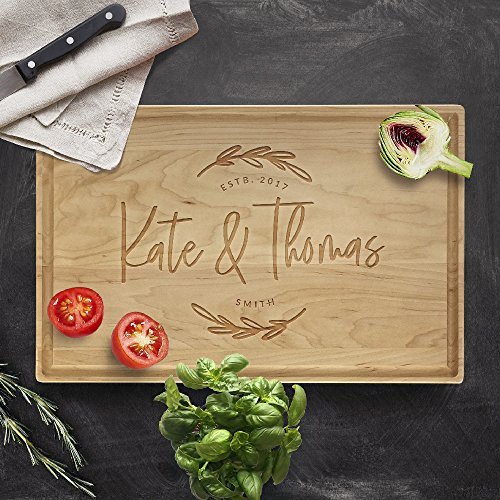 P Lab Personalized Cutting Board, Custom Engraved Cutting Board with Juice Drip Groove, Christmas Gift, Wedding Gift, Anniversary Gift, Housewarming Gift (11