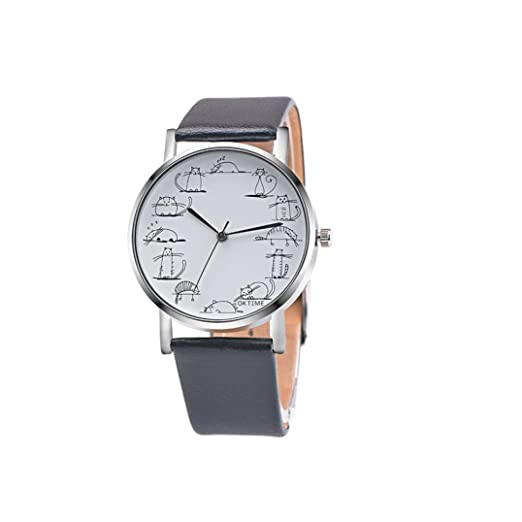 Dressin Womens Geneva Watch, Fashion Retro Design Lovely Cartoon Cat Leather Band Analog Alloy Quartz Wrist Watch