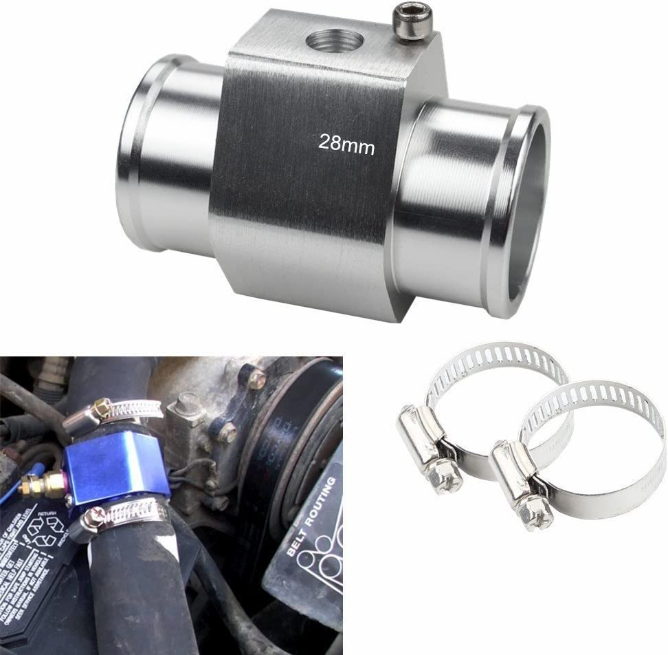 Jauge de temp/érature d/'eau Juding en aluminium pour tuyau de radiateur avec colliers de serrage