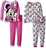 Disney Girls' Toddler Girls' Minnie Mouse 4-Piece Cotton Pajama Set, Pink/White, 2T