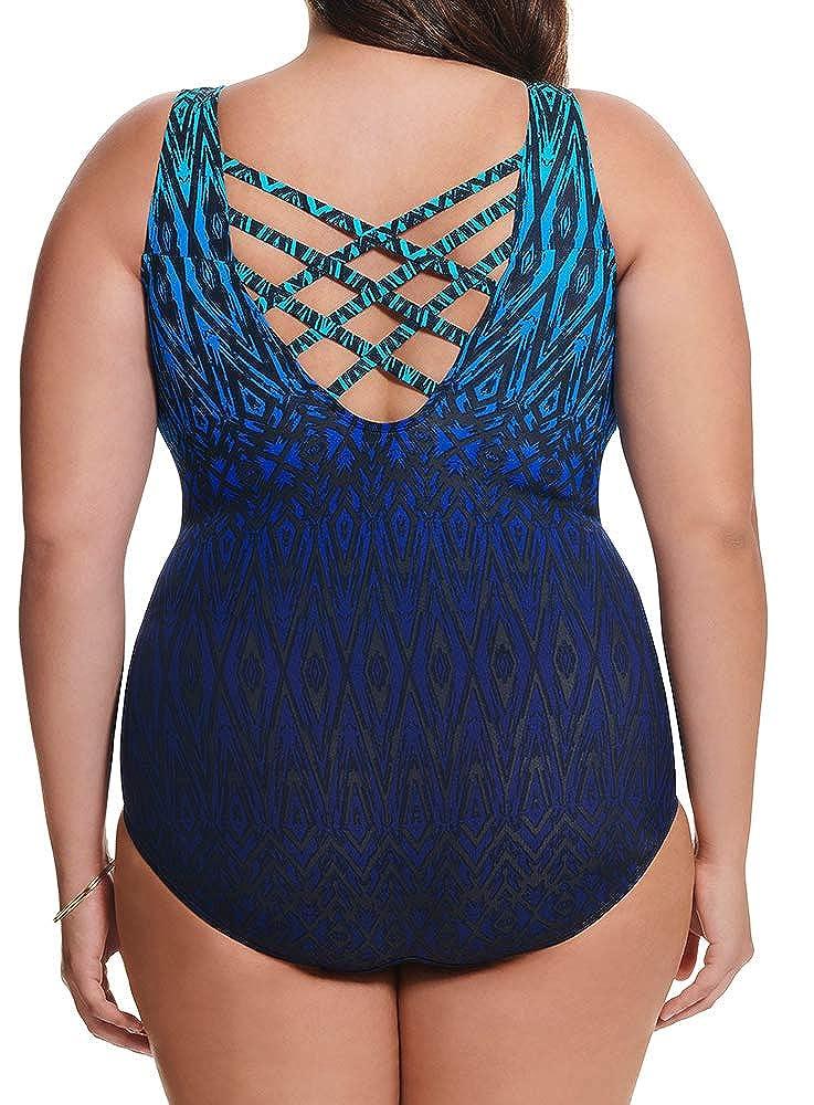 Longitude Womens Plus Size Swimwear Tahoe Ombre Triple X-Back Tank Tummy Control Long Torso One Piece Swimsuit