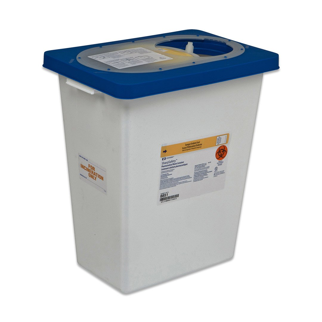 Covidien 8860 SharpSafety Pharmaceutical Waste Container, Gasketed Hinged Lid, 12 gal Capacity (Pack of 10)