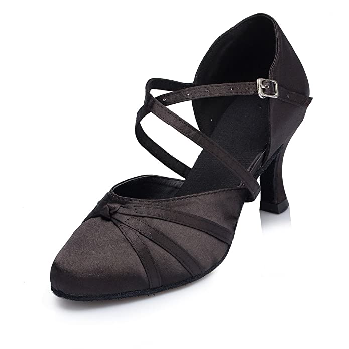 Retro Style Dance Shoes Minishion Womens Ribbon Knot Satin Ankle Wrap Latin Dance Shoes $35.00 AT vintagedancer.com