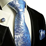 Paul Malone Extra Long Silk Necktie, Pocket Square and Cufflinks Blue Paisleys
