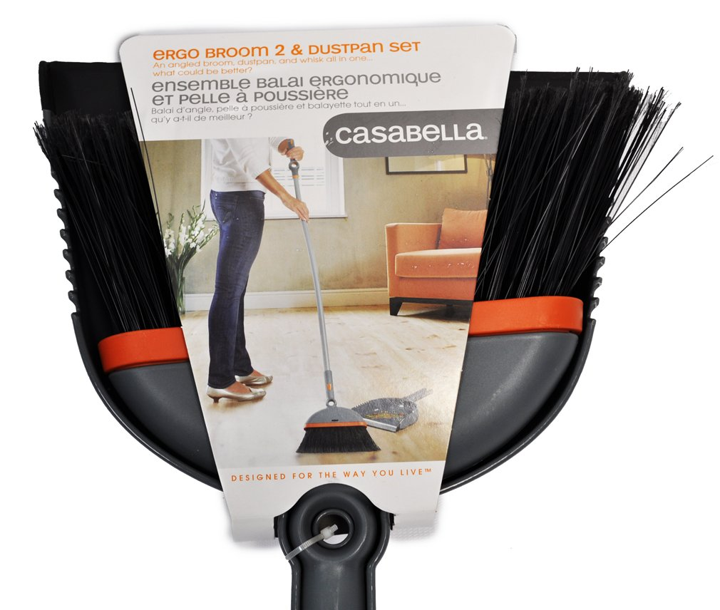 Casabella Ergo Broom 2 and Dustpan Set Graphite And Orange