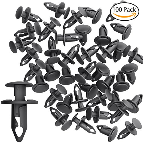 CandyHome 100 PCS 8mm Nylon Bumper Fasteners Fender Rivet Clips Automotive Clips and Fasteners Car Bumper Retainer Clips - Fits Most Models Nylon Car