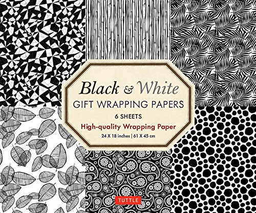 Black & White Gift Wrapping Papers - 6 sheets: 6 Sheets of High-Quality 18 x 24 inch Wrapping Paper - Origami Paper Animal Prints