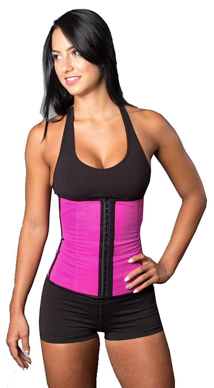 48ab94ffb5d HrGlass Training Waist Trainer Latex Corset Steel Bone Cincher XS Pink at  Amazon Women s Clothing store