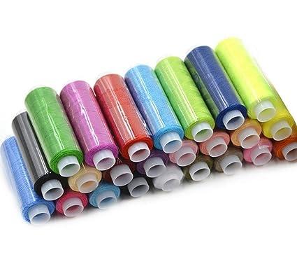 24 Rollos de Hilos de Coser Hilos de Bordar de Poliéster Durable para Costura,Máquina