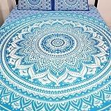 Indian Mandala Ombre Blue White Bohemian Boho Large Throw Bed Sheet Wall Hanging Tapestry Queen/double/kingsize by bohomandala