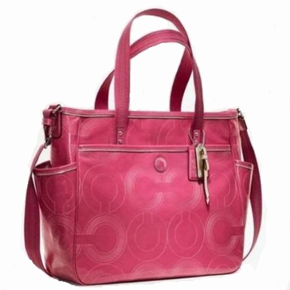 63b0c2eb5fab Amazon.com   Coach Baby BAG Stitched Patent Tote - 19911 Hot Pink   Diaper Tote  Bags   Baby