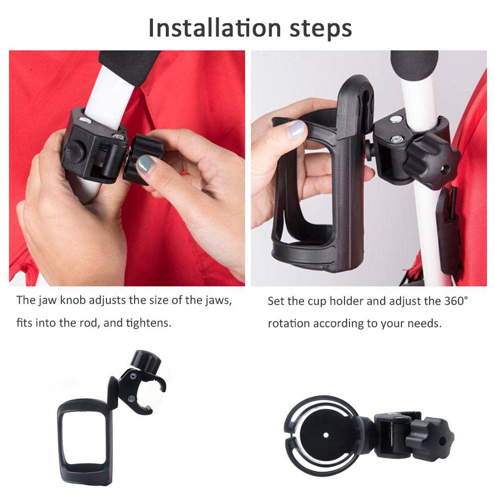 Portable Bike Bottle Holder,Adjustable Black Pram Cup Holder 360 Degrees Rotation Anti-slip Fast Dismounting Water Drink Bottle Bracket For Bicycles,Mountain Bikes,Baby Strollers And Wheelchair