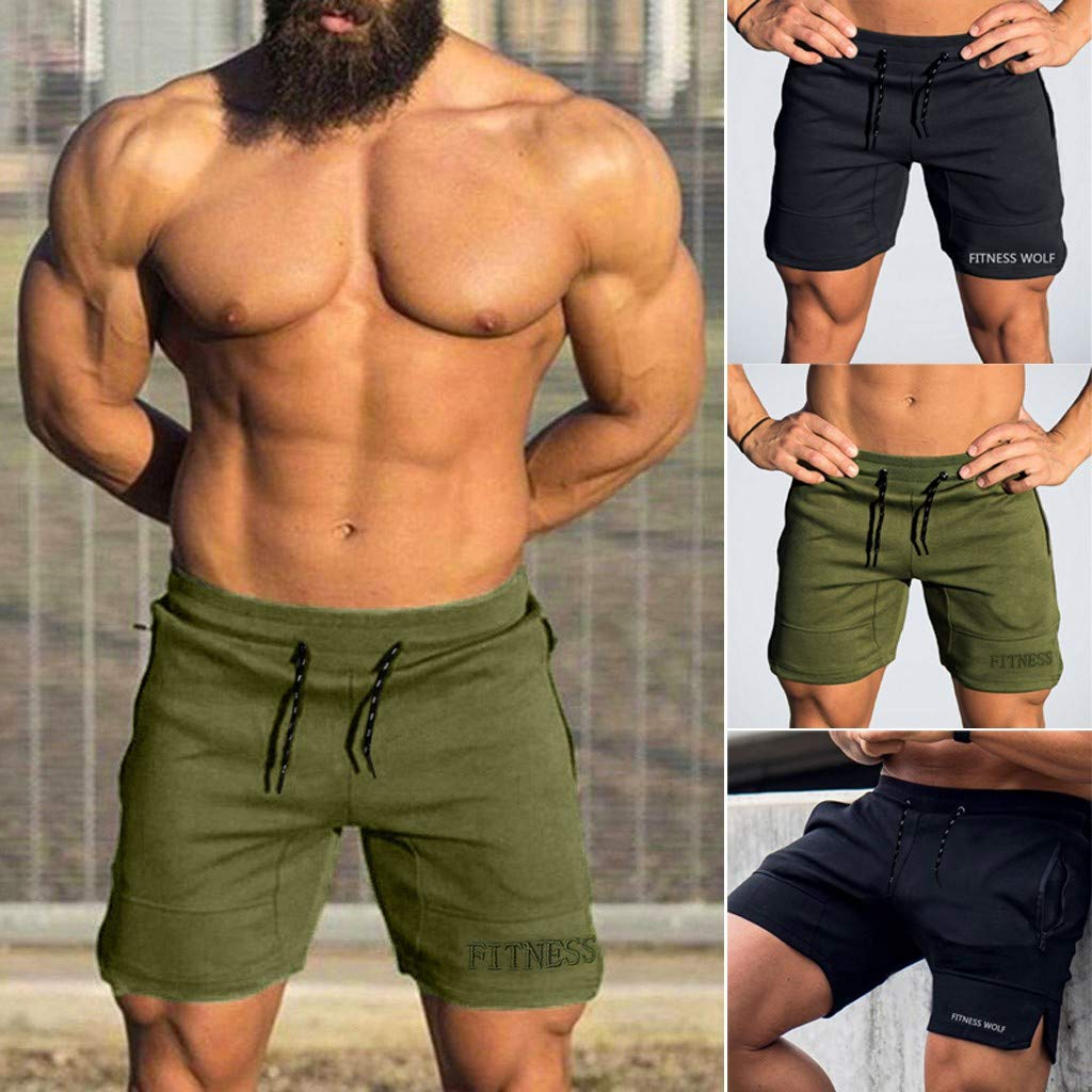 Mens Cool Beach Shorts,Donci Casual Sports Jogging Fitness Elasticated Embroidery Short Pants Slim Fit Comfortable Trousers