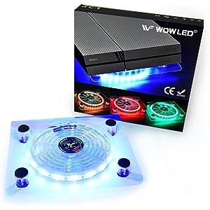 Ventilador Wowled con LED RGB, por USB, soporte refrigerador para PS4,